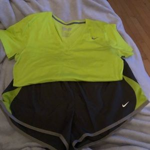 Lime green and grey Nike outfit